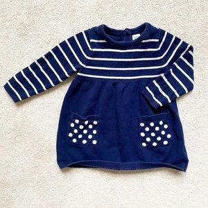 ⚪️GAP | Navy & white stripe dot sweater dress